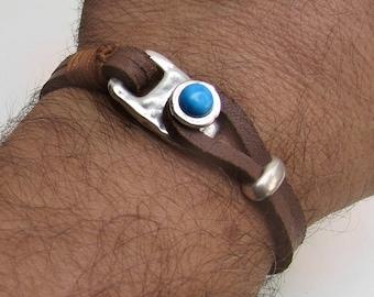 Men Leather Bracelet Hammered Gemstone Silver Bracelet Eye Tiger, onyx, Sodalite, Snow Flake, Agate, Aventurine, Haolite, Unakite, Carnelian