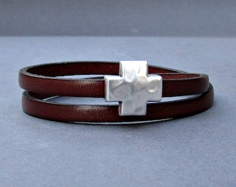 Cross Hammered Leather Bracelet Leather Double Wrap Bracelet Cuff Brown Black Blue Silver Plated Magnetic Clasp Customized On Your Wrist
