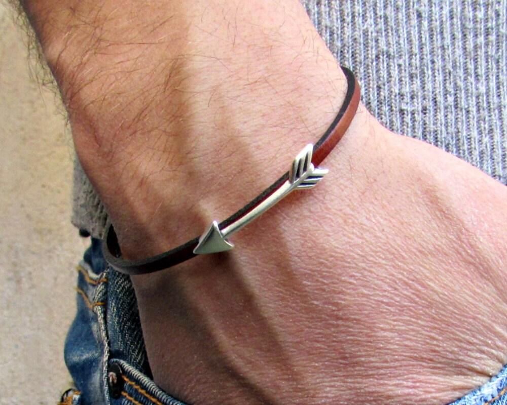 Arrow Bracelet Mens Tiny Leather Bracelet Spear Dainty Bracelet