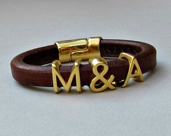 Two Initials Bracelet, Personalized Initial Bracelet, Gold Monograms Leather Bangle Bracelet, Customized on your wrist
