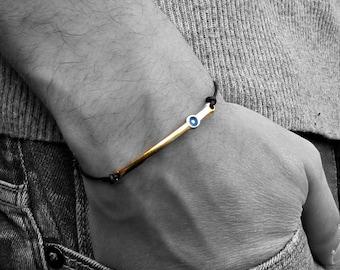 Evil Eye, Gold, Rose Gold, Bar Bracelet, Unisex Leather Cord Bracelet His And Hers Silver Dainty Bracelet Adjustable