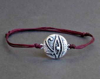 Eye Of Ra, Men's Bracelet, Silver Eye of Ra Charm, Cord Bracelet For Men, Gift for him, Bestfriend Bracelet, mens jewelry, Adjustable