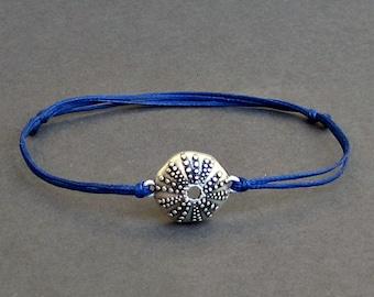 Urchin, Men's Bracelet, Silver Sea Urchin Charm, Cord Bracelet For Men, Gift for him, Bestfriend Bracelet, mens jewelry, Adjustable