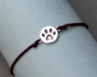 Silver Paw Print Bracelet, Silver Paw Charm, Cord Bracelet For Men, Elastic Bracelet, Bestfriend Bracelet, Adjustable  6 - 9 1/2 Inches
