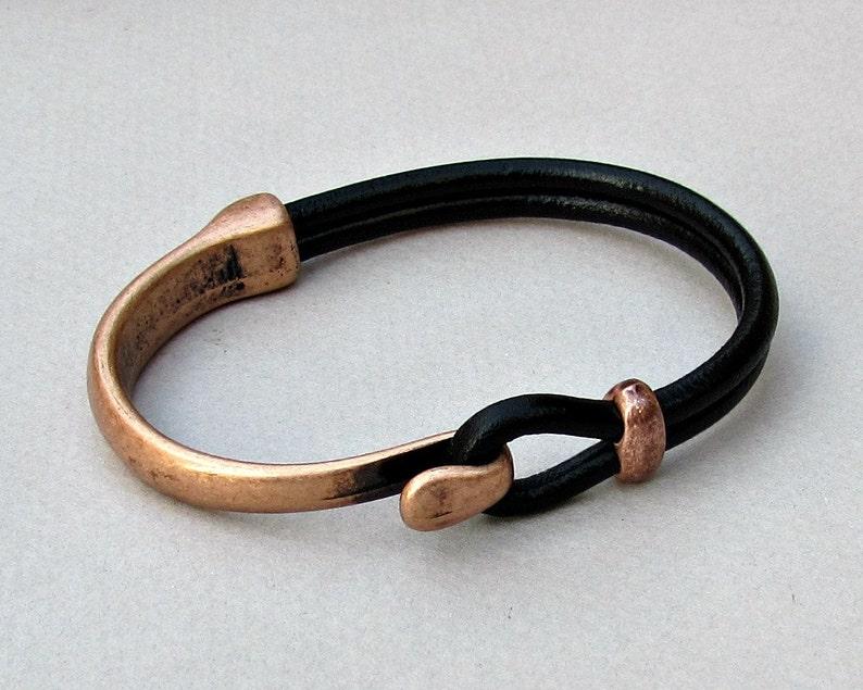 Mens Bracelet Leather Leather Bracelet Black Brown Leather image 1