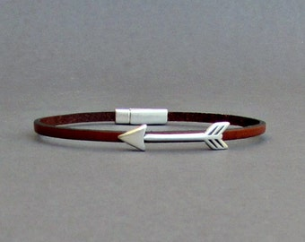 Arrow Bracelet Mens Tiny Leather Bracelet Spear Dainty Bracelet Boyfriend Gift Customized On Your Wrist width 3mmFathers day gift