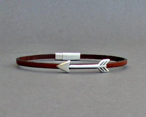 Arrow Bracelet Mens Tiny Leather Bracelet Spear Dainty Etsy