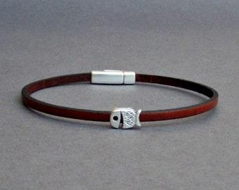 Whale Bracelet Mens Tiny Leather Bracelet Silver Dainty Bracelet Boyfriend Gift Customized On Your Wrist width 3mmFathers day gift