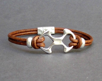 Bracelet For Men Leather Bracelet, Gift For Him Antique Silver Plated, Customized On Your Wrist Fathers day gift