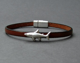 Shark Mens Leather Bracelet Cuff Boyfriend Gift Customized On Your WristFathers day gift