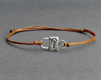 Tiny Locket Key, Men's Bracelet, Silver Locket Key Charm, Cord Bracelet For Men, Gift for him, Bestfriend Bracelet, mens jewelry, Adjustable