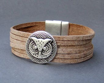 Multistrand Owl Leather Bracelet Genuine Leather Cuff Sliced Bracelet  Real Leather Cuff Unisex Bracelet-Available 9 colors