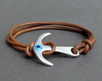 Anchor Evil Eye Leather Bracelet Mens Nautical Anchor wrap Bracelet Adjustable