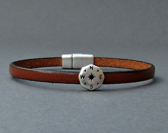 Silver Compass Mens Leather Bracelet Cuff Boyfriend Gift Customized On Your Wrist