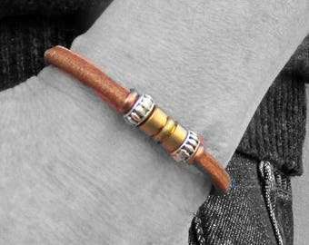 Mens Leather Bracelet, Silver Mens Beaded Bracelet, Bracelet For Him, Antique Silver Plated, Customized On Your WristFathers day gift