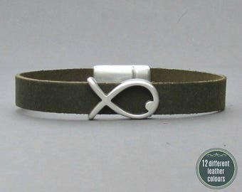 Fish Mens Leather Bracelet Cuff Leather Mens Bracelet Cuff Silver Plating  Customized On Your WristFathers day gift