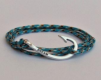 Hook Bracelet For Mens Nautical Rope wrap Bracelet Arrowhead Bracelet Adjustable