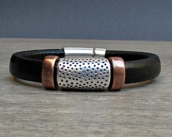 Men's Leather Bracelet, Silver, Bronze, Copper, Leather Mens Bracelet Cuff, Boyfriend Gift, Magnetic Clasp Customized On Your Wrist