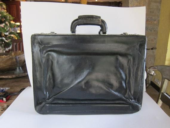 Vintage SEEGER, leather briefcase, 1970's black, s