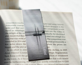 Monochrome Tall ship Magnetic Bookmark   Nautical   Black and White Photography