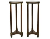 Early Mid 19th Century French Empire Mahogany Antique Gueridon Pedestal Tables with Marble Tops - a Pair