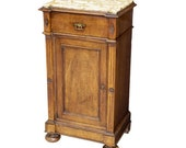 Antique French Louis Philippe Period Tall Marble Top Bedside Cabinet or End Table