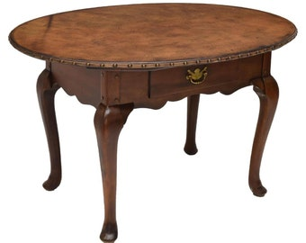 Rare RALPH LAUREN Polo Vintage Mahogany Leather Top Oval Table / Desk