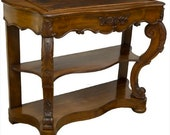 Stunning 19Th C. Rococo Revival Carved Mahogany Console Table with Hidden Compartment