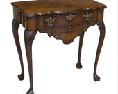 18TH C. Chippendale Carved Mahogany Talon Ball Console Tea Table