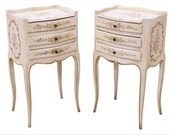 Venetian Louis XV Style Floral Side Table Pair vintage bedside cabinet nightstand end tables