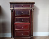 19th Century French Napoleon III Second Empire Period Marble-Top Gilt-Metal Mahogany Bedside Cabinet Nightstand - end table lamp stand
