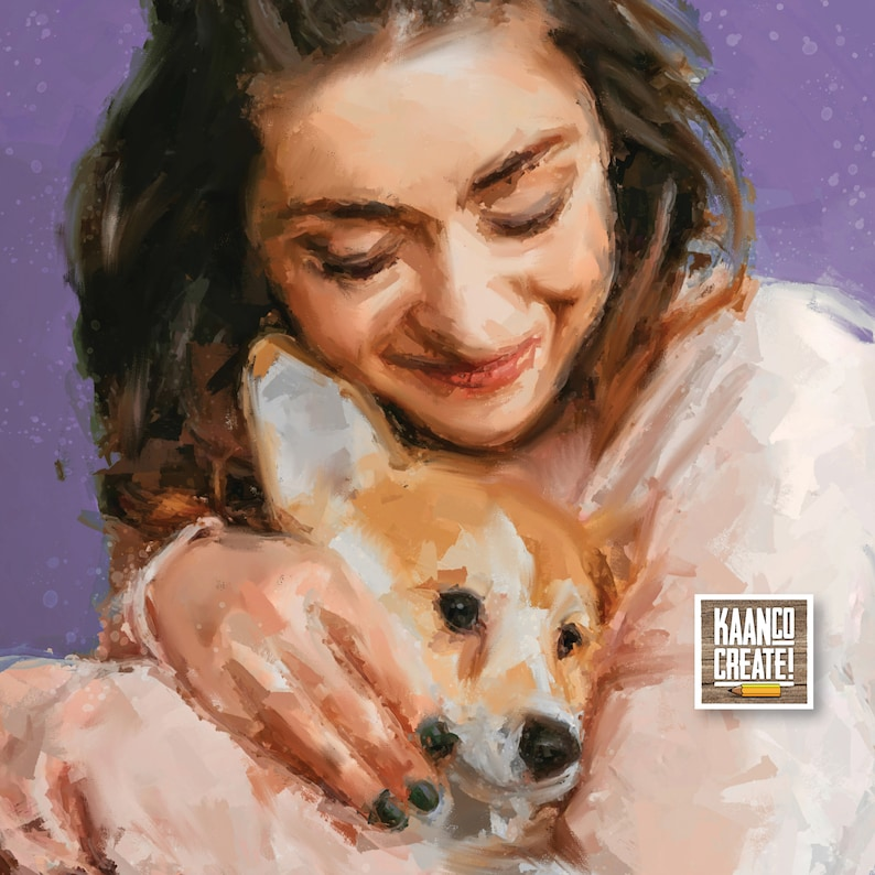 Personalized Artwork Print on Canvas Custom Digital Art Custom Portrait from Picture Small painting Pet Portrait