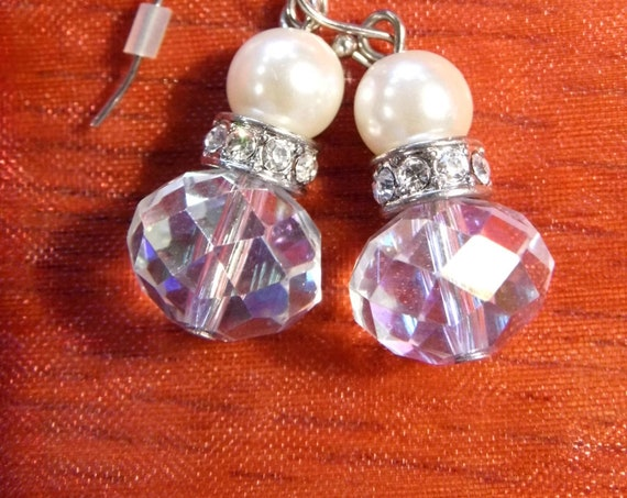 A beautiful pair of vintage crystal and faux pearl droplet earrings Art Deco style