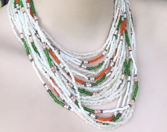 Unusual multi stranded  vintage/ antique Art Deco beaded choker necklace with tapestry clasp