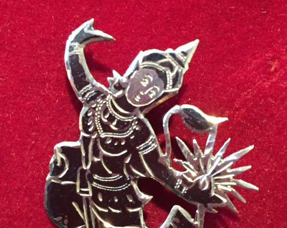 Beautiful Vintage Solid Sterling Silver Siam Godess Brooch/pin 1950s
