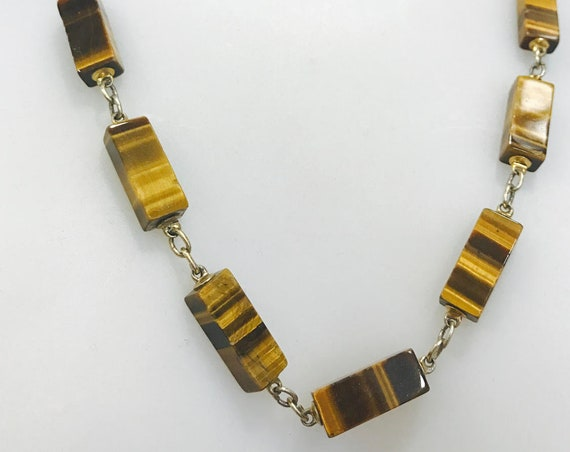 Vintage rectangular cut tigers eye agate stone beaded necklace
