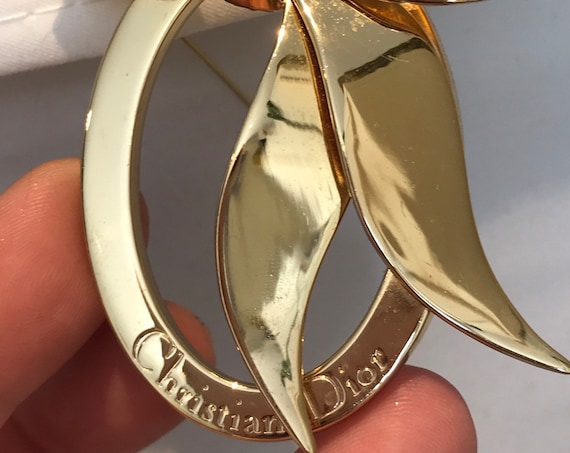 Authentic vintage iconic signed Christian Dior logo ribbon frame gold plated brooch pin