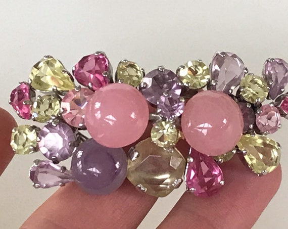Stunning pink pastel coloured Rhinestone and glass pendant brooch signed Christian Dior 1968 boxed