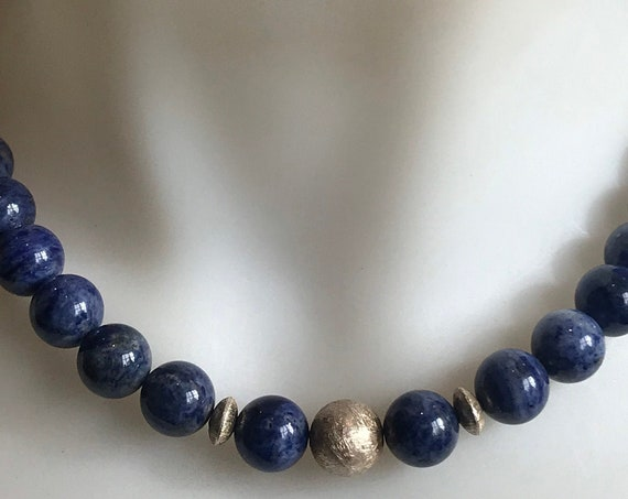 Beautiful blue agate round beaded necklace with brushed silver beads and clasp