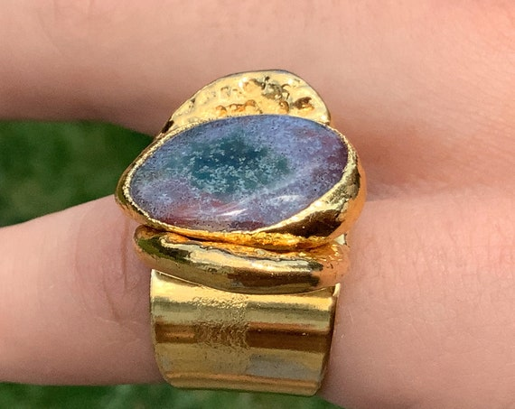 Brutalist Gold Plated Statement piece ring by Jacob Hull Denmark