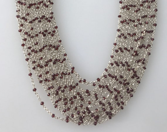 Solid  silver 925 and garnet chain necklace 15 strands of graduated silver collar choker necklace