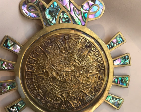 Vintage Mexico Metales Casados Statement piece oversized pendant necklace