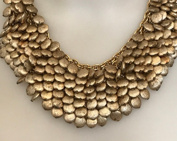 Statement piece gold toned chain choker necklace set with multiple beaded brushed gold droplets