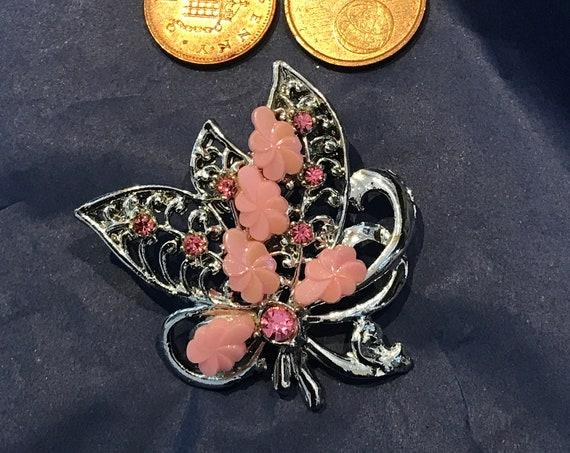 Vintage pink rhinestone rhodium plated bouquet brooch