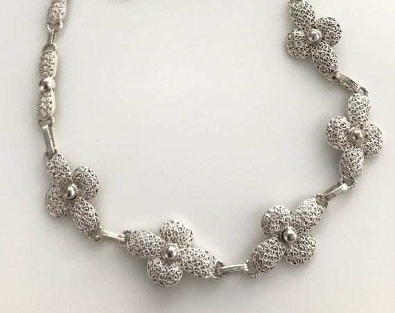 Rare Theodor Fahrner Art Deco silver 925 filigree linked flowers daisy necklace 17' in length