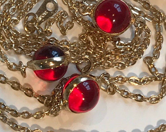 Vintage Avon red bezel Set gold Plated necklace with matching Earrings