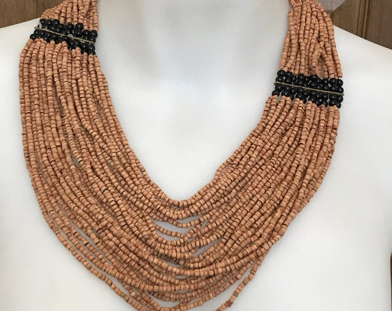 Multi Stranded cork and black glass beaded tribal boho style vintage necklace