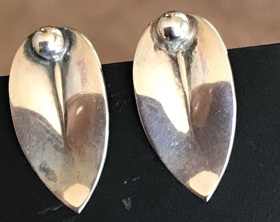 A superb pair of vintage Danish solid Sterling silver mid century modernist earrings signed N.E FROM
