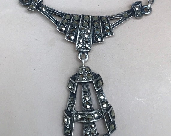 Stunning Art Deco Sterling silver and Marcasite drop necklace