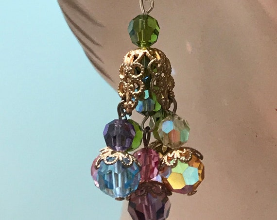 Striking multicoloured vintage crystal drop dangle earrings